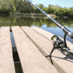 fishing rod and reel on pier