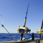 heavy duty rods and reels attached to a boat